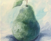 """Winter Pear 6"""" x 6"""" Original Still Life Pear Painting on Gallery Wrapped Canvas by Torrie Smiley"""