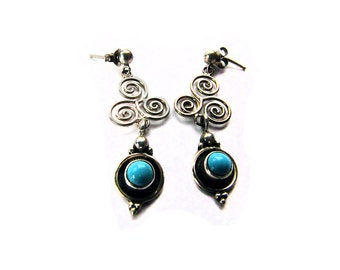 Turquoise with Silver Earrings Triple Spiral