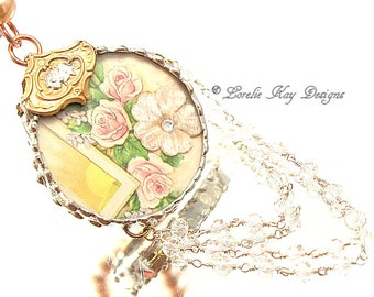 Rose Garden Soldered Necklace Mixed Media One-of-a-Kind Diorama Pendant