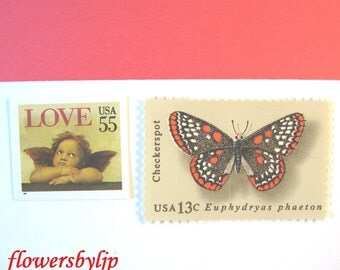 Vintage Love Postage Stamps, Cherub Butterfly Stamps, Mail 20 Wedding Invitations 2 oz, 68 cents unused postage, Rustic love angel stamps