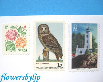 Nautical Wedding Postage Stamps, Pacific Lighthouses, Owl, Roses, Mail 20 Wedding Invitations 2 oz, 68 cents postage, nature stamps unused