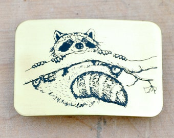 Raccoon belt buckle, Brass Belt Buckle, animal belt buckle, USA MADE, cartoon belt buckle,  bb0-0901091816ai