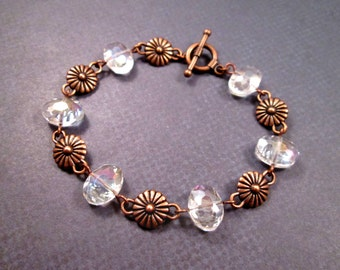 Flower and Crystal Clear Glass Bracelet, Art Deco Style, Copper Beaded Bracelet, FREE Shipping U.S.