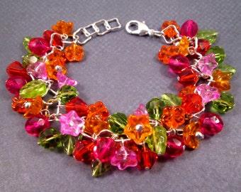 Flower Bracelet, Zen Garden, Colorful and Silver Beaded Bracelet, FREE Shipping U.S.