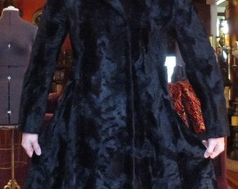 ON SALE Vintage 1940's Persian Black Velvet Swing Coat S/M Gothic