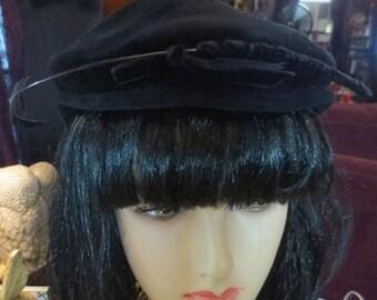 SALE Vintage 1940's Black Wool Felt Tilt Hat with Plume 22