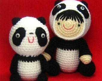 Girl in a Panda Suit and Her Friend - PDF Crochet Pattern