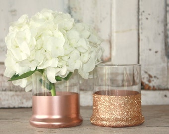 Rose Gold vases, wedding decor, 6 rose gold dipped centerpiece vases, rose gold glitter vase, wedding table decor, rose gold candle holder