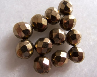Contemporary Czech Burnished Gold Firepolish Faceted Glass Beads - 8mm - Lot of 12
