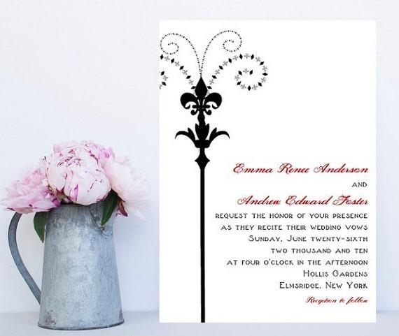 Fleur de lis Wedding Invitations - New Orleans Theme Wedding Invitation