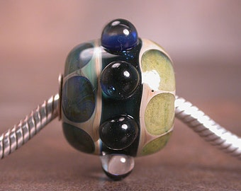 Lampwork Glass Euro Charm Bead Handmade Lines & Dots Silver Cored Divine Spark Designs