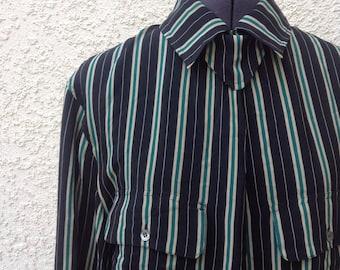 Vintage 80s silk black pinstripe Avantgarde blouse ~ street fashion ~ new wave ~