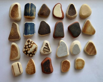 23 pieces of smooth beach pottery BPL20