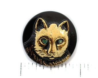 Black, Gold Cat with Green Eyes Czech Glass Button - 23mm