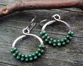Green Turquoise beaded sterling silver hoop dangle earrings