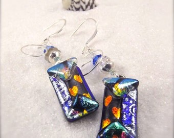 Dichroic glass jewelry, Fused glass earrings, Dichroic Earrings, Trending earrings, Hana Sakura, blue jewelry, dichroic,statement earrings