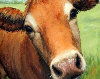 Jersey Cow Art Print, Jersey, Red Dairy Cow in Field, Painting by Dottie Dracos,Various Sizes