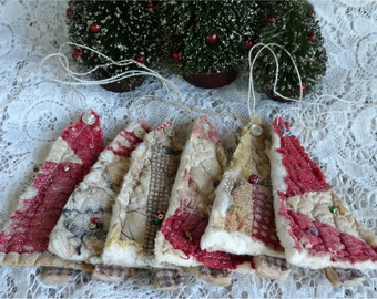 One upcycled quilt ornament vintage cutter quilt tree ornament cottage shabby scrap fabric Christmas ornament, beaded tree, red tan