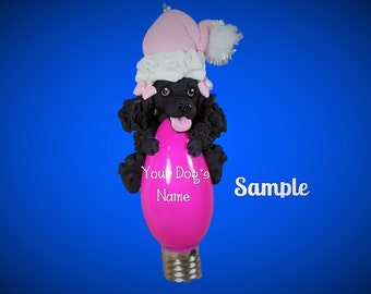 Black Poodle Santa Dog PINK THEME Christmas Holidays Light Bulb Ornament Sallys Bits of Clay PERSONALIZED free with dog's name
