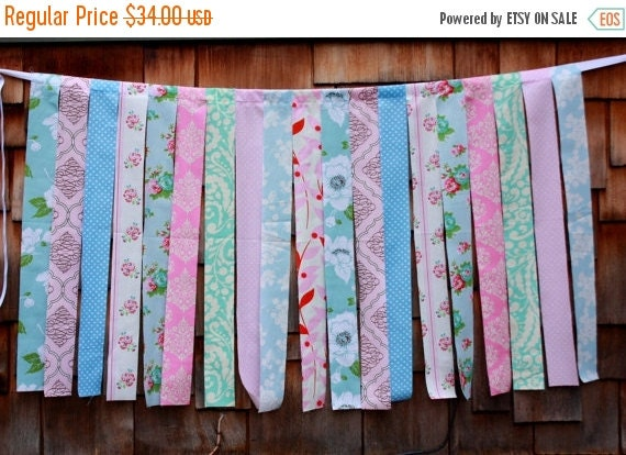 STOREWIDE 15% OFF Fabric Strips Photo Prop, Shabby Chic. Designer's Choice Wedding Decoration, Nursery Decor. Fabric Garland Prop.  Children