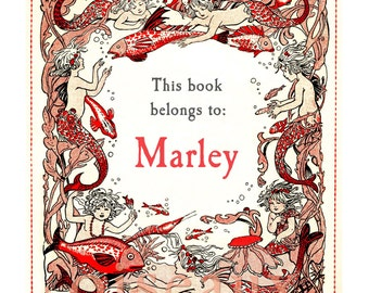 Personalized Bookplates - Mermaid Children - Book Labels, Ex Libris, Beautiful Girl's Gift