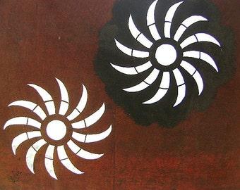 Japanese Kimono Stencil - Katagami - Vintage Stencil - Japanese Stencil - Large Stencil - Vintage Japanese Stencil - Flowers