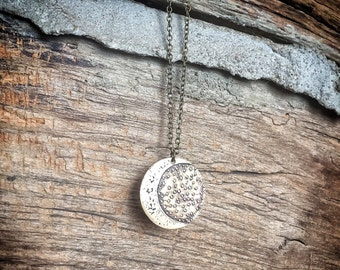 Moon Necklace - Etched Moon and Stars Pendant Charm Necklace - Hand Drawn Moon Necklace - One of a Kind Gift - Night Stars & Moon Necklace
