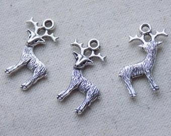 10 Silver tone Deer Stag Reindeer Charms Pendants