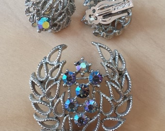 Vintage Lisner 1950's AB Lavender Rhinestone Brooch & Earring Signed Set - FREE SHIPPING Clearance Sale
