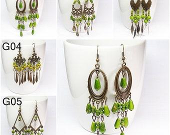 Green Chandelier Earrings, Antique Brass Earrings