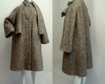 1960's Chic Mohair Wool Swing Coat / size 6 8 10 Tawny HEATHER Taupe / Short Bell Sleeves Pockets Scarf Collar