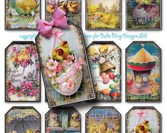 Happy Easter Chick A Dee,  gift tags,  INSTANT Digital Download at Checkout, printable gift tags, Easter collage sheets