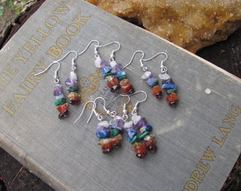 Chakra Earrings Chakra Crystal Earrings Chakra Gemstone Earrings Rainbow Earrings