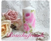 "Shabby Chic White 6"" PILLAR Candle Handpainted Deep Pink Roses ECS"