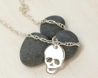 Skull necklace - Skull jewelry - Skeleton necklace - Sterling Necklace - Simple jewelry - Dainty necklace - Minimalist necklace - Gift idea