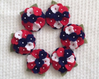 Red White Blue Felt Mini Hydrangeas