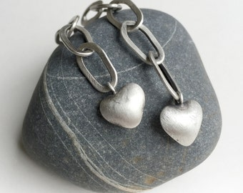 Long Chain Heart Earrings Post Sterling Silver  - Unchain My Heart