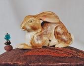European Hare Ceramic Pincushion with Polychrome Vintage Trim