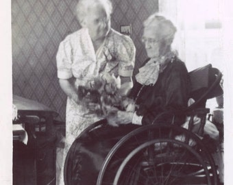vintage photo 1941 Mothers Day Older Woman Gets Flower Bouquet in Wheel Chair