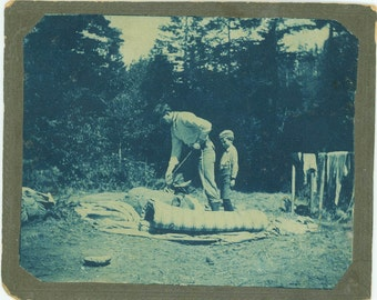 vintage photo 1910 Father son Camping Rolls up Bedding Tent Cyanotype Cabinet