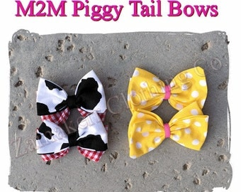 MADE TO MATCH Girl Fabric Hair Bow (2) Piggy Tails