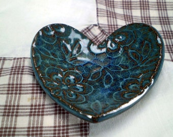 Lace Flower Heart Dish, Pottery Dish, Tea Bag Holder, Ring Holder, Ready to Ship