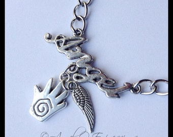 Supernatural Castiel the Angel Word of the Hunter Chain Bracelet with Healing Hand and Wing