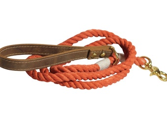 Rope Dog Leash - Cotton Rope leash with leather handle- Terracotta