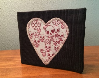 Burgundy canvas wallet w/ heart shaped skull and flowers