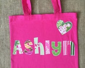 Girls Large Personalized Tote Bag With Hearts - Library book bag, Sleepover bag, or Extracurricular Activity Bag