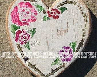 Price Reduced! Small Floral Heart, Valentines Day, Vintage-looking wood sign, hand made, hand painted