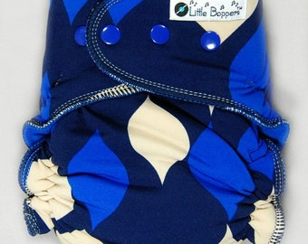 Cloth Diaper or Cover Made to Order - Blue Drops - You Pick Size and Style - Custom Nappy or Wrap - Swim Type Knit (Poly/Lycra)