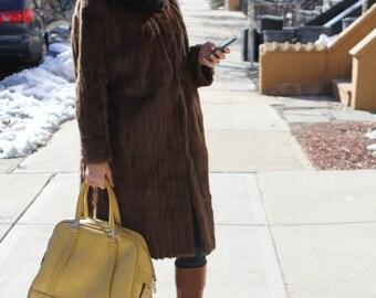 vintage 1990's oversized huge full length brown rabbit fur coat jacket