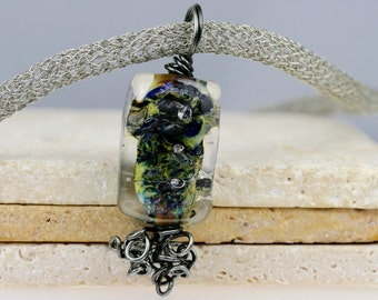 Wire Wrapped Necklace, Lampwork Necklace, Glass Necklace, Artisan Necklace, Luxury Necklace, Mosaic Necklace, Silver Necklace